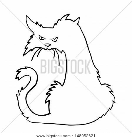 Very high quality original trendy  vector scary halloween cat outline