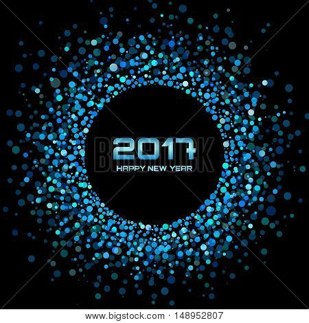 Blue Bright New Year 2017 on black Background.  Glowing confetti circle new year frame. Blue shining circle background. Vector illustration