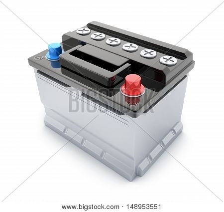 Battery car on white background (done in 3d rendering)