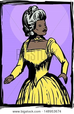 Gorgeous Woman In 18Th Century Dress