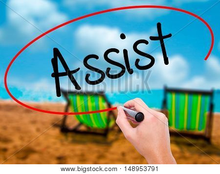 Man Hand Writing Assist With Black Marker On Visual Screen.