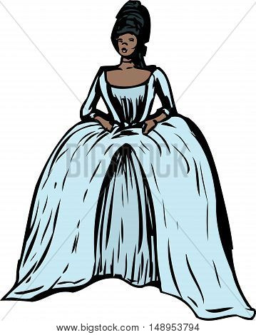 Woman With Round Gown And Stomacher