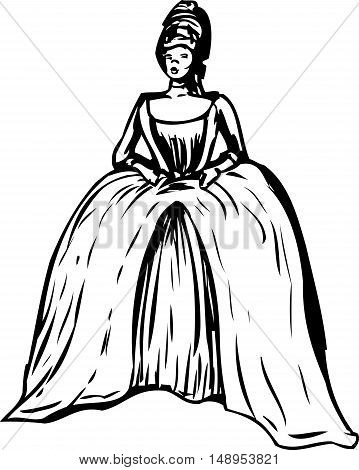 Outlined Woman With Round Gown And Stomacher