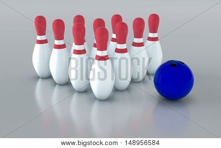Bowling pins and bowling ball.Isolated on grey background. 3D rendering illustration.