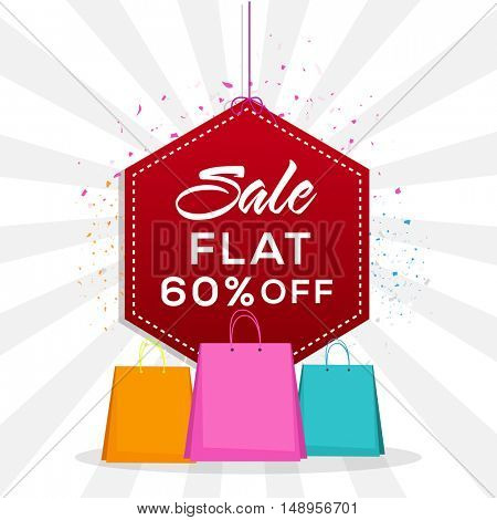 Red glossy Sale Sticker, Tag or Label, hanging on abstract rays background with 60% Discount Offer and Shopping Bags.