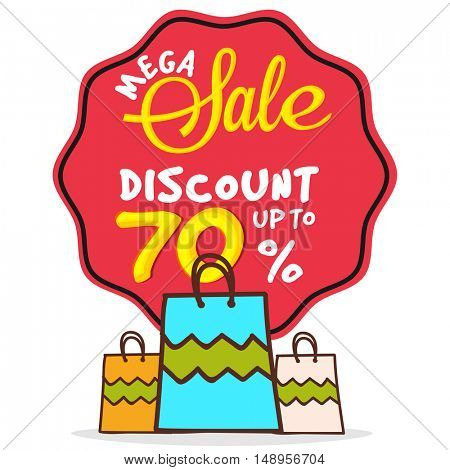 Mega Sale Sticker, Tag or Label with 70% Discount Offer and creative Shopping Bags on white background.
