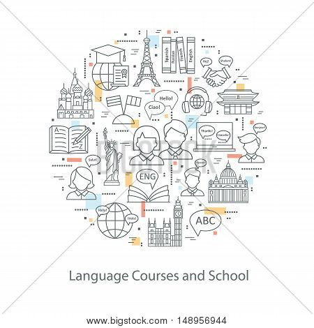 Modern thin line concepts of learning foreign languages, language training school. Logo for trendy designs. Vector icons and elements.