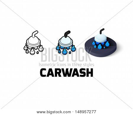 Carwash icon, vector symbol in flat, outline and isometric style