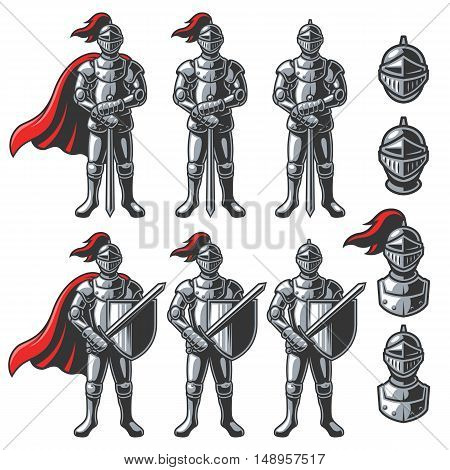 Set of color knights in different poses on white background. Perfect for logo, emblem, label and badges design