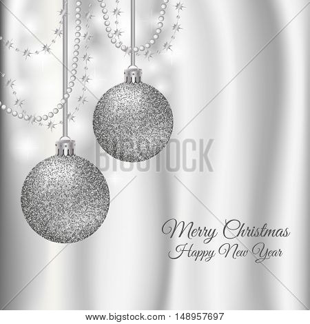 Christmas New Year silk curtain background with glossy glitter balls and decor in silver colors.