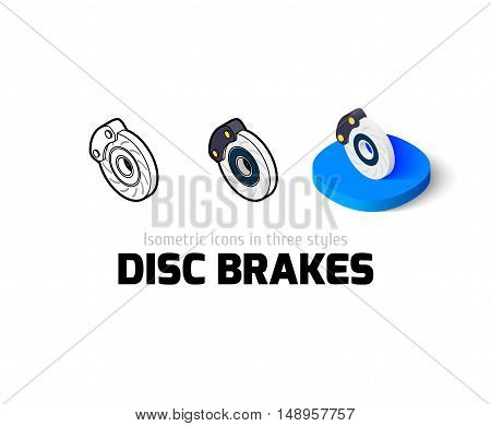 Disc brakes icon, vector symbol in flat, outline and isometric style