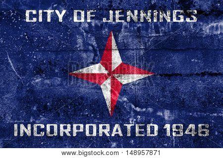 Flag Of Jennings, Missouri, Usa, Painted On Dirty Wall