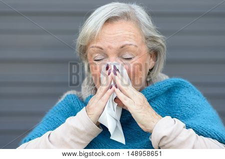 Elderly Woman With Seasonal Influenza