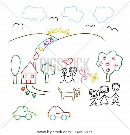 Children's drawing - seamless pattern