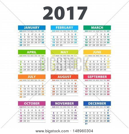 2017 Calendar - Illustration Vector Template Of Color 2017 Calendar