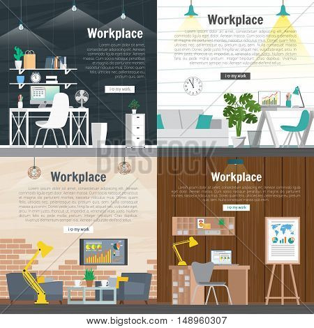 Banner set Office workplace interior design Graphic Design. Business objects elements and equipment. Web Banner And Printed Materials. Flat Design Illustration Concepts.