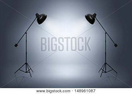 Empty photo studio with spotlights. Spotlight and studio empty, photo interior room. Realistic vector illustration