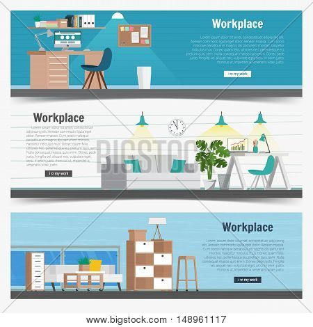Web Banner set Office workplace interior design Graphic Design. Business objects elements and equipment. Flat Design Illustration Concepts.