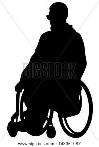 Silhouettes wheelchair and people on white background