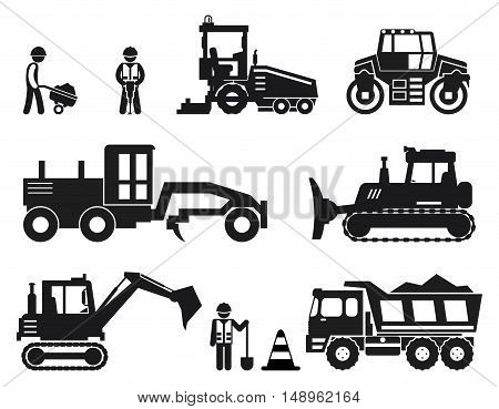 Road construction worker black vector icons set. Road worker, repair equipment, vehicle industry road illustration