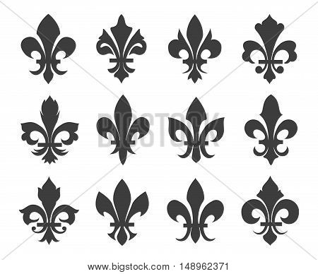 Fleur de lis vector icons. Decoration icon emblem, french symbol medieval, heraldic classic fleur de lis illustration