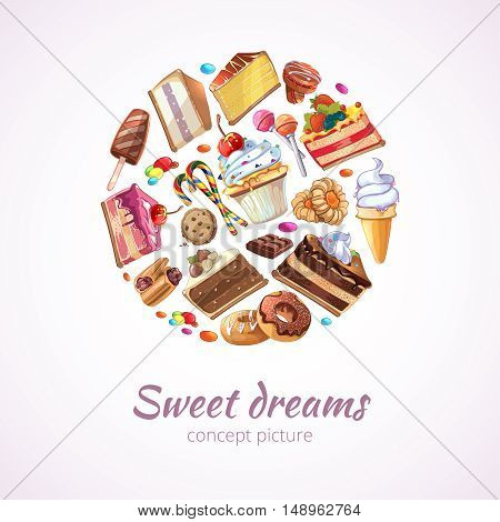 Abstract sweets vector background. Sweet food, candy dessert sweet food, sweet ice cream and caramel food, sweet lollipop illustration
