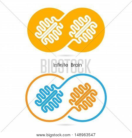 Creative brain sign and infinite creativity logo elements design.Infinite ideas concept.Business and education creative logotype symbol.Vector illustration