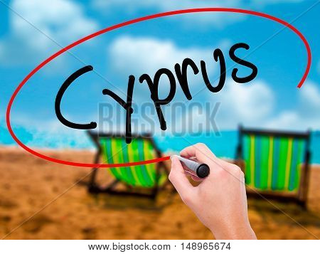 Man Hand Writing Cyprus With Black Marker On Visual Screen