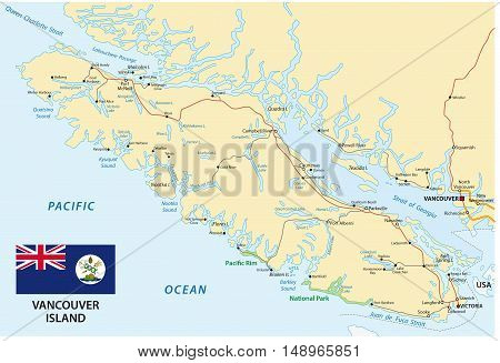 Vancouver Island Map With Flag