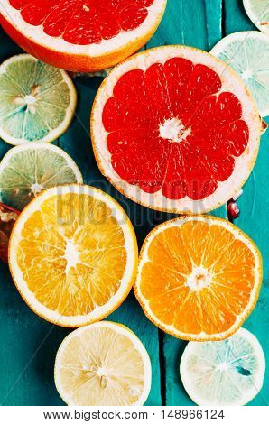 Fruit In A Cut Closeup, Grapefruit, Orange, Lemon, Tangerine, Fr