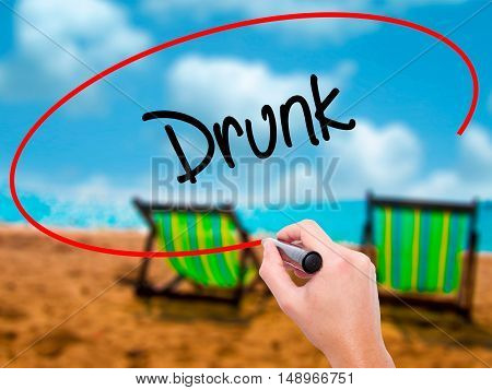 Man Hand Writing Drunk With Black Marker On Visual Screen