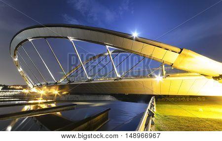 View of modern design of Seri Empangan Bridge at Putrajaya.