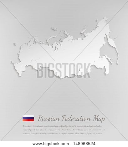 Russia map. Russian federation 3D vector map with smooth shadow.