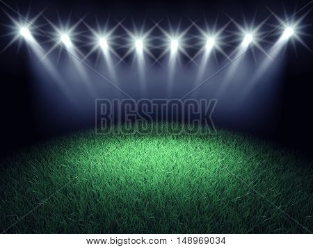 Sports arena spotlights and turf , Stadium grass , 3d illustration