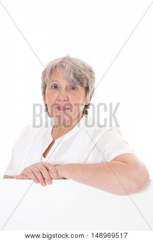 Old age woman behind placeholder