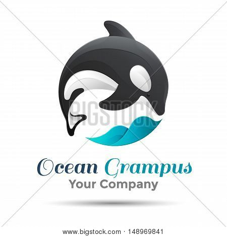 Vector illustration. Logo orca whale. Isolated white background. Grampus. Killer . The concept of protection whales. design . Template for your business company. Creative abstract colorful.
