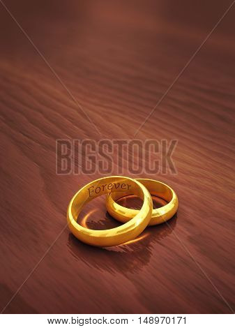 Golden wedding rings engraved Forever on wooden defocused background with copyspace , Marriage , 3d illustration