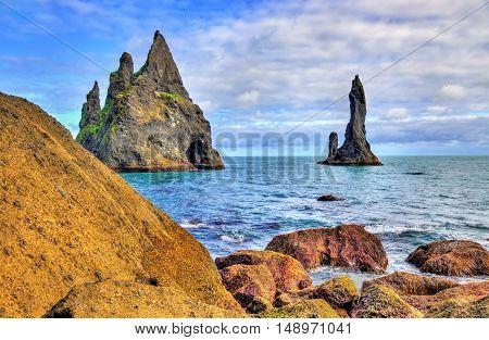 Reynisdrangar, basalt sea stacks in South Iceland