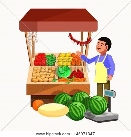 Vegetables and fruits product seller at the counter and stall. Vector shop in flat style. Kiosk with fresh vegetarian food products. Grocery store illustration.
