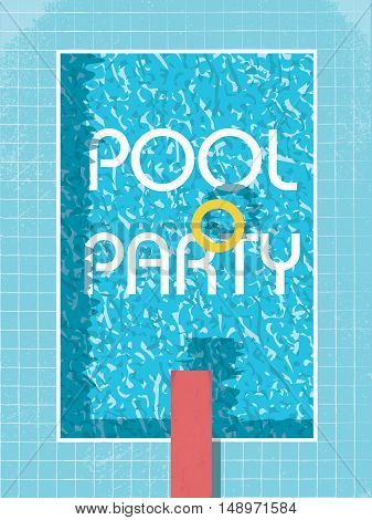 Pool party invitation poster, flyer or leaflet template. Retro style swimming pool with life preserver. Eps10 vector illustration.