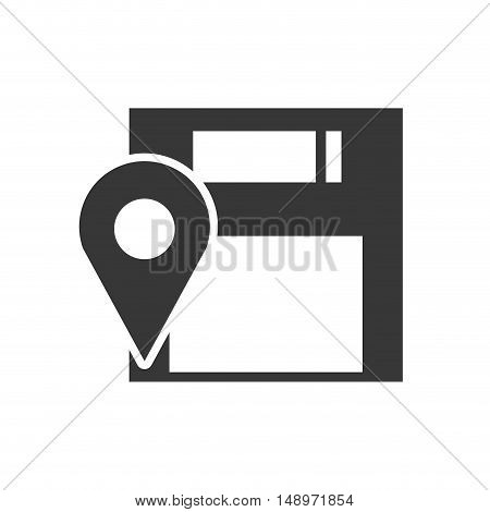 data diskette retro device with ubication pin icon silhouette. vector illustration