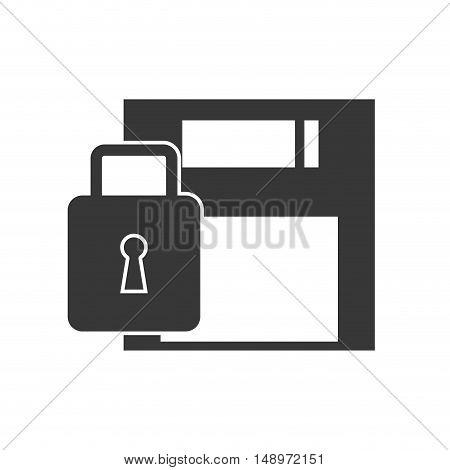 data diskette retro device with security lock icon silhouette. vector illustration