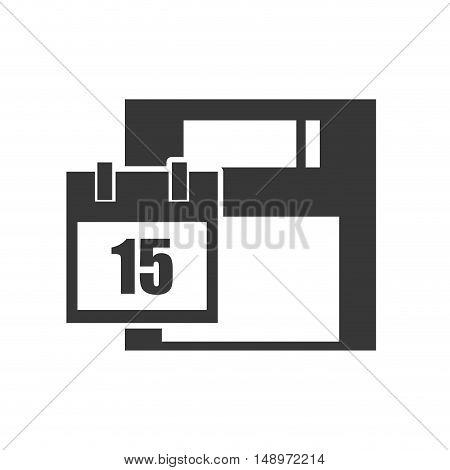 data diskette retro device with calendar icon silhouette. vector illustration