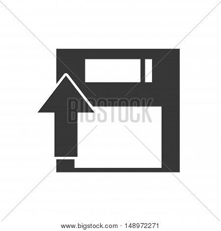 data diskette retro device with upload arrow icon silhouette. vector illustration