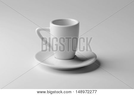White porcelain coffee cup isolated on white