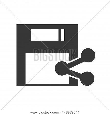 data diskette retro device with share icon silhouette. vector illustration