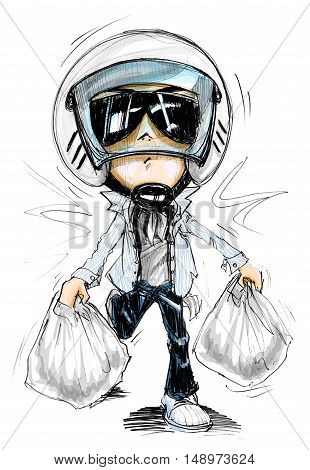 Acting Character design Bike Man walking or running from shopping Plaza Cartoon pencil free hand sketch and magic color on paper have real paper texture and noise.