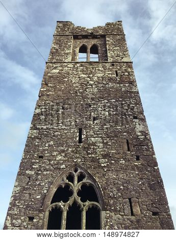 Low angle view of the belltower at Slane Abbey in County Meath.