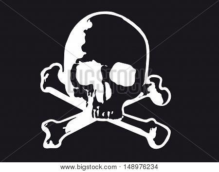 Vector illustration of Skull and cross bones (variant)