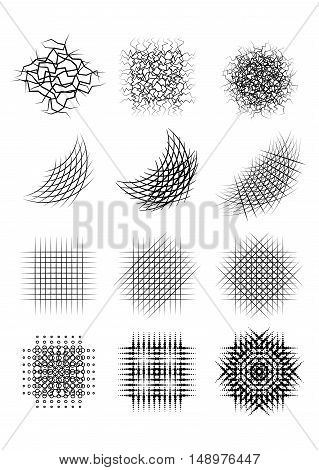 Set pencil strokes halftone engraving. Vector element for your design